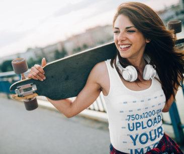 Tank Top Mockup of a Joyful Woman Carrying a Longboard 40051-r-el2