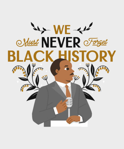 T-Shirt Design Maker with a Black History Month Illustration of Martin Luther King 3410c