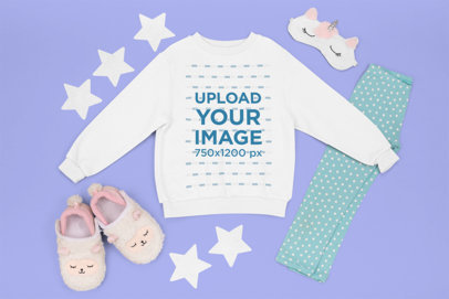 Sweatshirt Mockup Featuring a Little Girl's Pajamas Outfit m1268