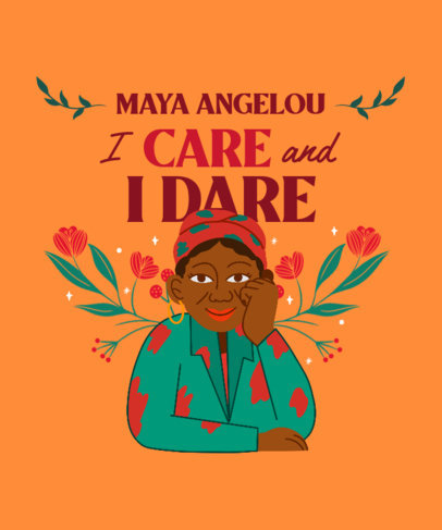 T-Shirt Design Creator with a Quote by Maya Angelou for Black Month History 3410f