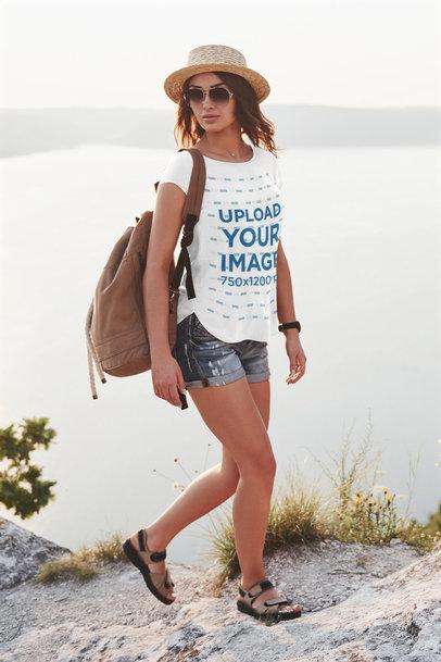 T-Shirt Mockup of a Trendy Woman Exploring the Outdoors 44738-r-el2