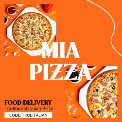 Pizza-Themed Instagram Post Template for a Food Delivery Service 3548c-el1