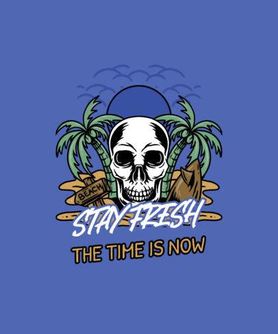 Summer T-Shirt Design Creator with a Skull-Themed Beach Landscape 3535e-el1