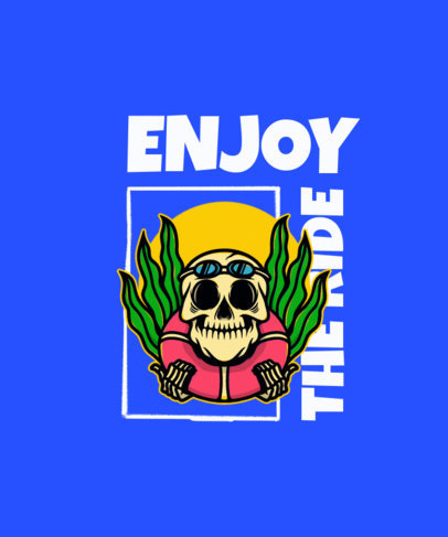 T-Shirt Design Maker Featuring a Happy Skeleton in the Sea 3553d-el1