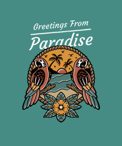 Beach T-Shirt Design Maker Featuring Two Parrots 3555e-el1