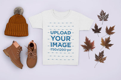 T-Shirt Mockup Featuring a Kid's Autumn Outfit m1271