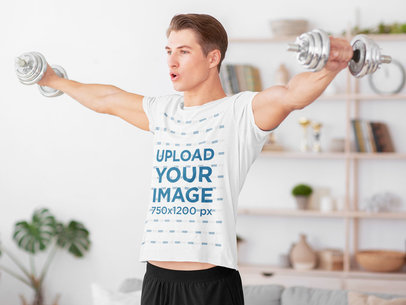 Activewear Mockup of a Man With a T-Shirt Exercising at Home 42038-r-el2