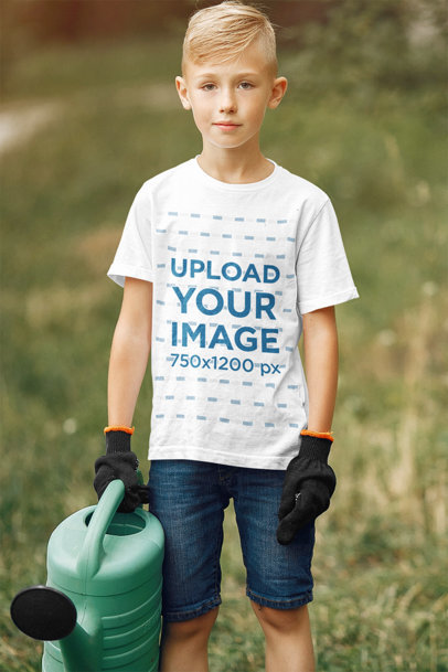 T-Shirt Mockup of a Kid Helping with Gardening Work 37333-r-el2