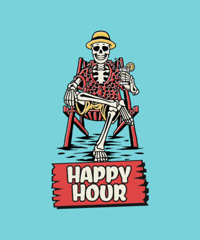 Fun T-Shirt Design Maker with a Graphic of a Drinking Skeleton 3551a-el1