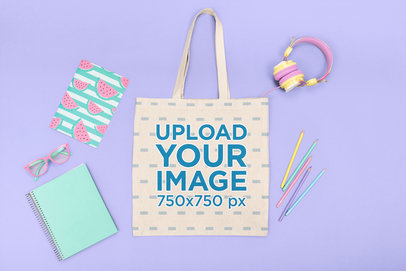 Tote Bag Mockup Featuring Colorful Kids' School Items M1260