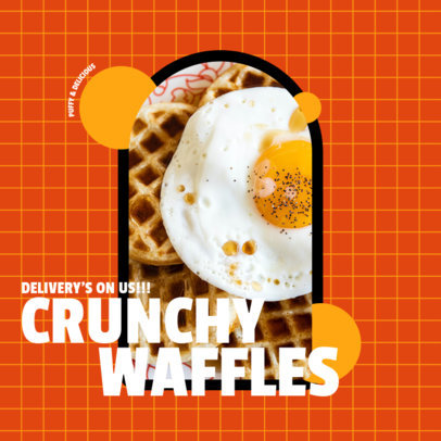 Breakfast-Themed Instagram Post Creator with a Photo of Crunchy Waffles 3544a-el1