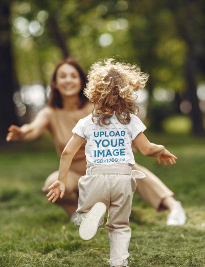 T-Shirt Mockup of a Girl Running Towards Her Mom 41248-r-el2