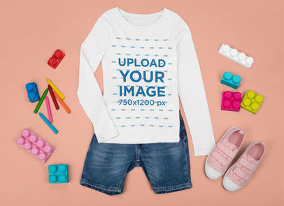 Mockup of a Little Girl's Outfit Featuring a Long Sleeve Tee m1282