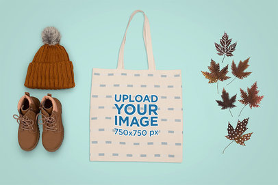 Tote Bag Mockup Featuring Autumn Paraphernalia m1275