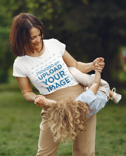T-Shirt Mockup of a Mother Playing with Her Daughter 41249-r-el2