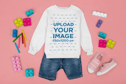 Sweatshirt Mockup Featuring a Little Girl's Outfit m1283