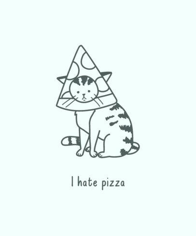 T-Shirt Design Maker Featuring a Sad Cat Wearing a Pizza Costume 3408e