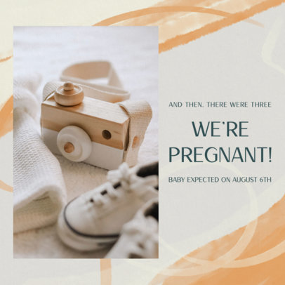 Instagram Post Template for a Pregnancy Reveal Featuring a Watercolor Background 3403a