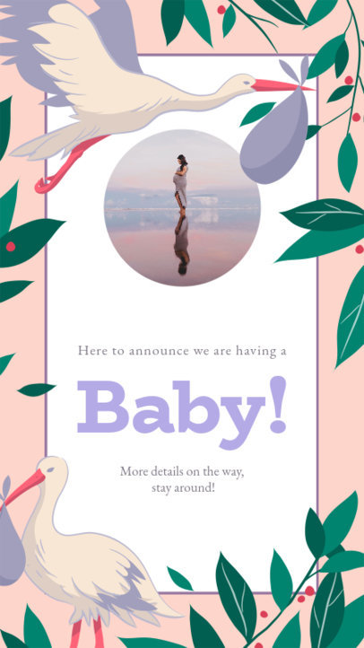 Maternity-Themed Instagram Story Generator with a Frame with Storks 3400c