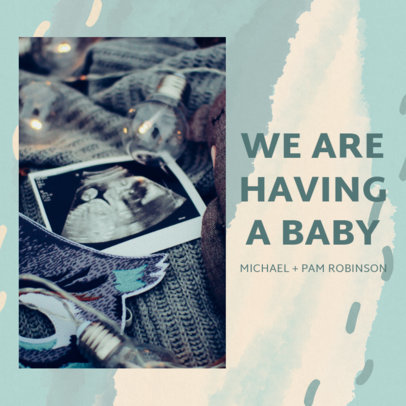 Pregnancy Reveal Instagram Post Design Maker With an Abstract Watercolor Background 3403c