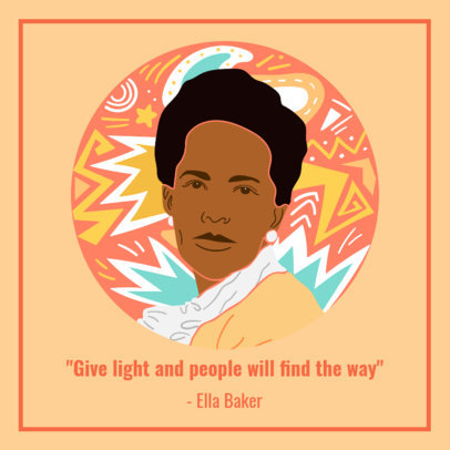 Facebook Post Creator with a Quote by Ella Baker for Black History Month 3412d