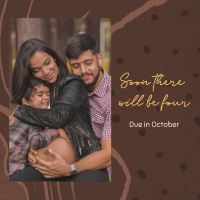 Instagram Post Maker for a Pregnancy Reveal Featuring a Happy Family Picture 3404f