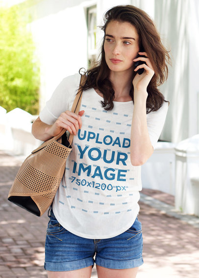 T-Shirt Mockup of a Serious Woman on the Phone 45229-r-el2