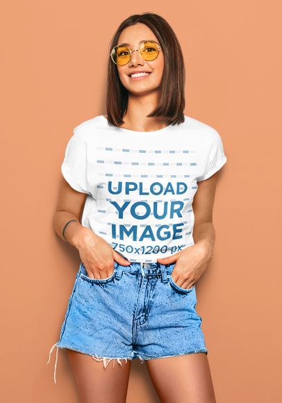 Mockup of a Happy Short-Haired Woman Wearing an Cool Outfit with a T-Shirt m1357-r-el2