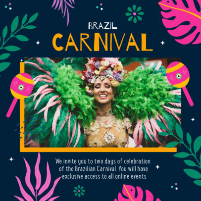 Instagram Post Maker for Online Rio Carnival Celebrations 3432