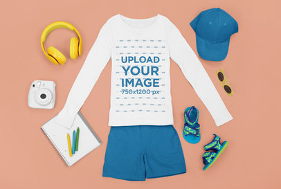 Long Sleeve T-Shirt Mockup Featuring a Kids' Summer Outfit m1262