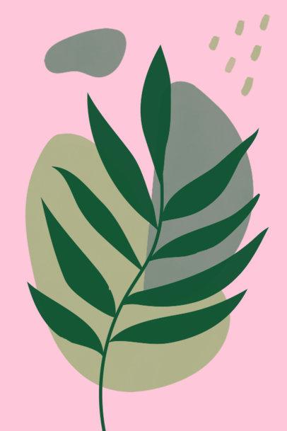 Art Print Design Template Featuring Minimal Illustrations of Plants 3426