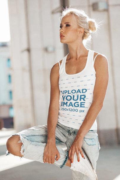 Tank Top Mockup of a Blonde Woman Wearing Ripped Jeans m1398-r-el2