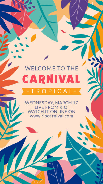 Instagram Story Design Template with a Tropical Frame for Brazilian Carnival 3429