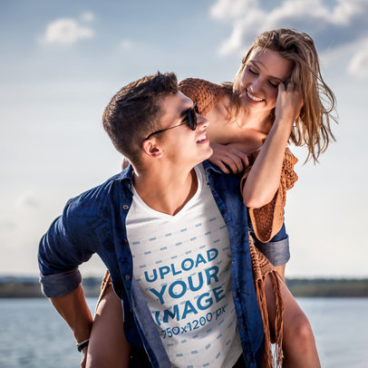 V-Neck T-Shirt Mockup of a Playful Man with His Girlfriend m2064-r-el2