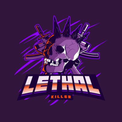 Hardcore Gaming Logo Maker Featuring Skulls and Guns 4095