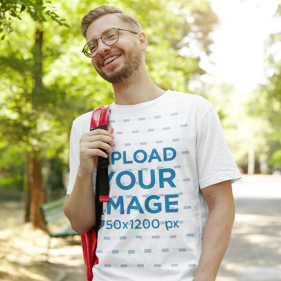 T-Shirt Mockup of a Man with Braces Smiling at a Park 1448-r-el2