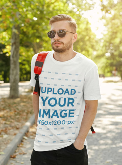 T-Shirt Mockup of a Blonde Bearded Man with Sunglasses m1414-r-el2