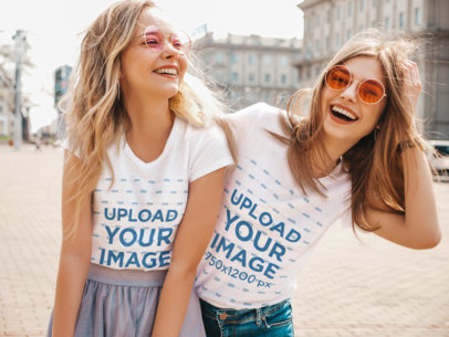 T-Shirt Mockup of a Two Female Friends Hanging Out in a City M1368-r-el2