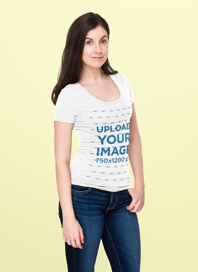 Heathered T-Shirt Mockup of a Happy Woman Posing Against a Colored Background 46673-r-el2