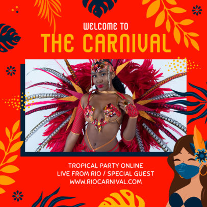 Instagram Post Generator Featuring Brazilian Carnival Graphics for a House Party Livestream 3432e