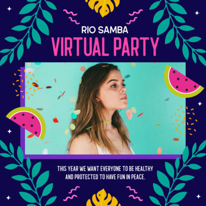 Rio Carnival-Themed Instagram Post Maker for a Virtual Party Invitation 3432i