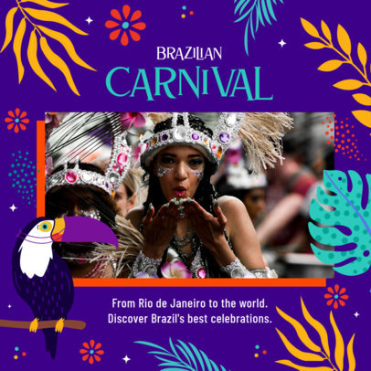 Instagram Post Template Featuring Brazilian Carnival Graphics for an Indoor Gathering 3432j