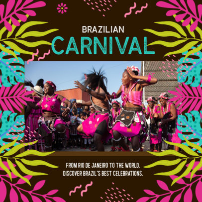 Instagram Post Creator for a Virtual Party with Brazilian Carnival Graphics 3432k