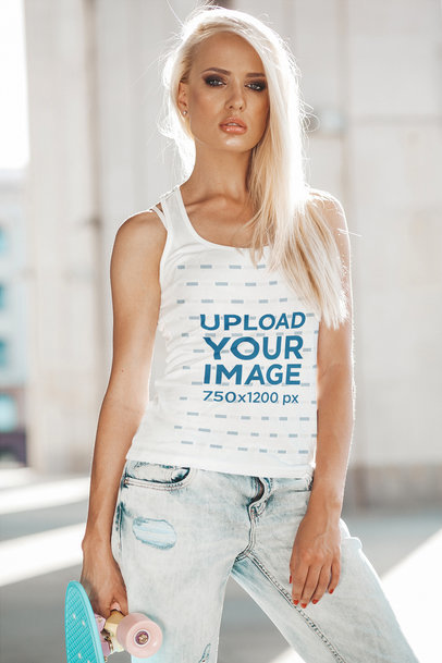 Front-View Tank Top Mockup Featuring a Woman Holding a Skateboard m1402-r-el2