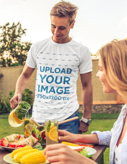 T-Shirt Mockup of a Man Eating Outdoors with His Girlfriend M1446-r-el2
