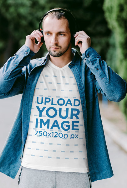 V-Neck T-Shirt Mockup of a Man With Headphones and an Athleisure Look m1782r-el2