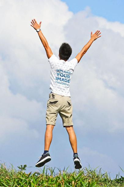 Back-View T-Shirt Mockup of a Man Jumping Happily 44577-r-el2