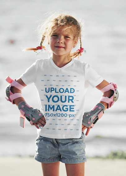 V-Neck Tee Mockup of a Little Girl with Skating Protective Gear m1742-r-el2