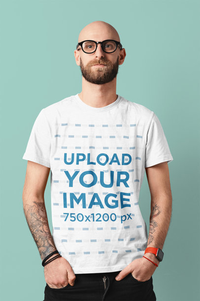 Basic T-Shirt Mockup of a Tattooed Man Posing With His Hands in His Pockets m1515-r-el2