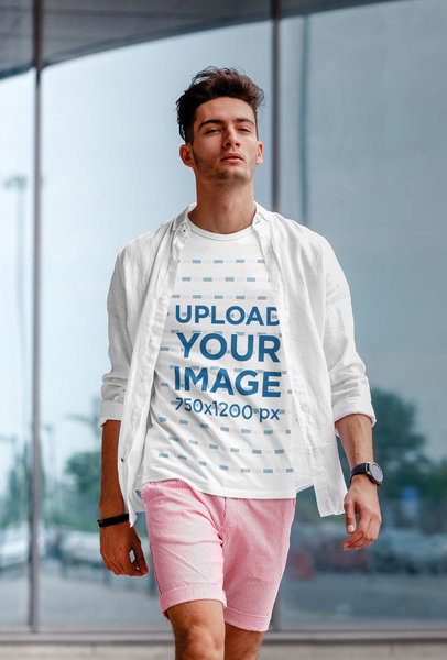 T-Shirt Mockup Featuring a Stylish Man Walking Down the Street m1876-r-el2